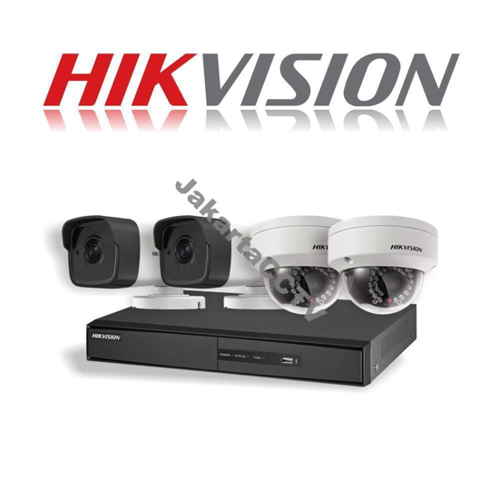 Gambar Paket CCTV Hikvision 4 Channel Network Camera 1.0 MP
