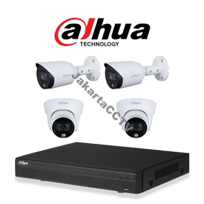 Gambar Paket CCTV Dahua Full Color 2MP 4 Channel